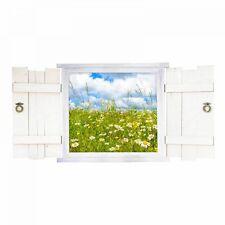 nikima 044 Wandtattoo Blumenwiese im Fenster mit Fensterläden Kinderzimmer