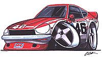 Datsun 240Z BRE style Cartoon car t-shirt -sizes S-3XL 260z 280z brock newman
