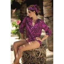"""ROSA FAIA """"Lakena"""" BEACH SHIRT/COVER UP in Purple/Black"""