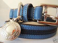 NEW COACH CADET BLUE NAVY 3 STRIPE SMALL MEDIUM  LARGE DOG COLLAR S M L