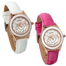 Women Charm Stylish Camellia Design Ceramic Dial Leather Band Quartz Wrist Watch