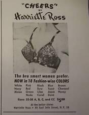 1954 Harriette Ross CHEERS Black Lace Women's Bra Ad