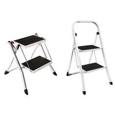 2 Step Ladder Stool Safety Anti Slip Rubber Mat Tread Steel Folding Frame DIY