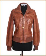 Brooklyn Bronceado Encerado (3758) Señoras Smart Casual Piel de cordero cuero chaqueta de bombardero