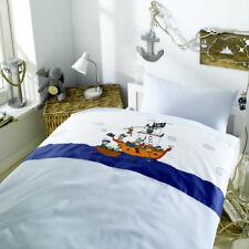 Lorena Maco Satin Kinder-Bettwäsche 100x135 cm oder 135x200 cm Piraten blau Boot
