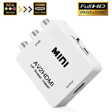 Composite AV CVBS 3RCA to HDMI Video Converter Adapter 720/1080p + USB Cable
