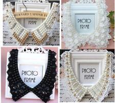 Women Detachable Lace Pearl beaded Peter Pan Collar Handmade Choker Necklace