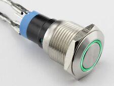 Einbauschalter tastend Taster Druckschalter 16 mm max 250V / 3A Edelstahl LED