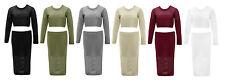 Women's Knitted Summer Crop Top With Skirt 2 Piece Long Sleeve Dress Size (8-14)