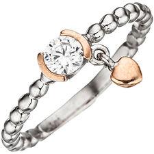 NEU Bicolor Damen Ring 925er echt Silber Kugelring mit Herz 50 52 54 56 58 60
