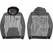 Game Of Thrones Stark Embroidered Logo Fur Hooded Zip-Up Hoodie Sweatshirt