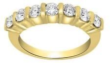 Engagement Anniversary Ring Band 0.60Ct Real Round Diamond Bar Set Yellow Gold