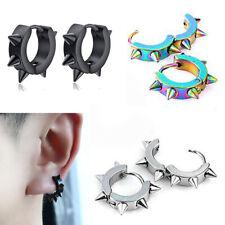 1 Pair Gothic Punk Mens Women Stainless Steel Hoop Spike Rivet Ear Stud Earrings