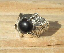 RX Ring Klaue Drachenklaue Onyx schwarz Stein des Steinbock Sterling Silber 925