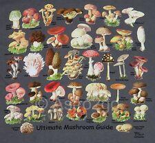 ULTIMATE MUSHROOM GUIDE--Toadstools Fungus Fungi Science Nature T shirt S-2XL