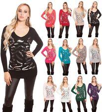 Koucla Longpullover Pullover Sweater mit  Pailletten