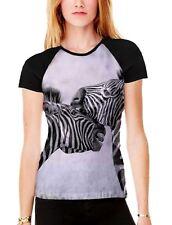 Zebra Animal Heads Women's All Over Graphic Contrast Baseball T Shirt