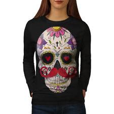 Moustache Skull Face Women Long Sleeve T-shirt NEW | Wellcoda