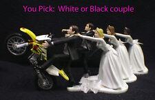 Wedding Cake Topper W/Suzuki Dirt Bike Motorcycle White Black Hispanic Groom top