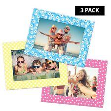 "Pack of 3 Shot2go magnetic photo fridge frames spring blue/yellow/pink 4x6"" 0523"