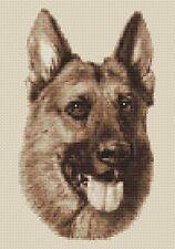 "German Shepherd Dog Cross Stitch Design (Sepia,7""x10"",18x25cm,kit or chart)"