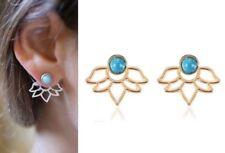 Anthropologie Urban Trend Minimal Lotus Flower Leaf Ear Jacket Earring Stud Bar