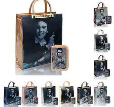Womens Elvis 3D Patent Shoulder Bag Shopper Top Handle Handbag + Purse Wallet
