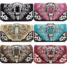Western Cowgirl Rhinestone Buckle Cross Body Wristlet Wallet With Strap