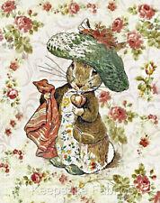 Potter Rabbit Vintage Roses Quilt Block Multi Sizes FrEE ShiP WoRld WiDE