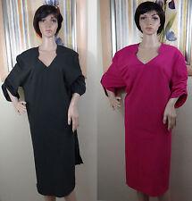NWT CHA CHA VENTE pink or black short sleeve V neck slit sides dress,1X, 2X