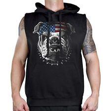 Men's Bulldog US Flag Black Sleeveless Vest Hoodie Workout Fitness American Gym