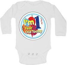 Im 1 Year Old Today Personalizzati Manica Lunga Bambino Body Body Unisex Bianca