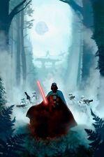 Darth Vader Lightsaber Stormtroopers Death Star Endor Forest Mist Star Wars Art
