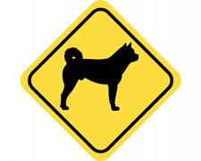 Akita Warnschild Warndreieck Aufkleber Achtung Vorsicht Hund