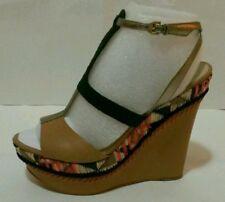 NEW! GUESS Women's Shoes, Diastol Platform Wedges Sandals Brown Multi Sz 8, 9.5