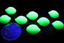 Fruit Lemon Lime Beads 14x10mm, Green Uranium opal glass - set of 10 pcs.