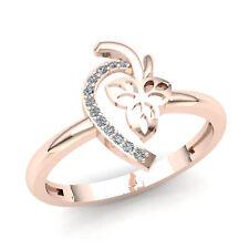 Heart Right Hand Ring 18K Gold Genuine 0.75ct Round Diamond Ladies Bridal Leaf