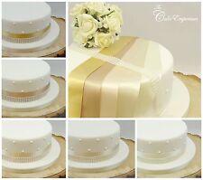 35 mm Nastro Di Raso & Pearl Trim Decorazione per Torta Compleanno & wedding cake topper