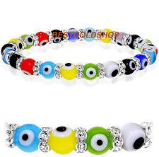 New Multi Color Stretchable 8mm Evil Eye Glass Bead Bracelet with CZ
