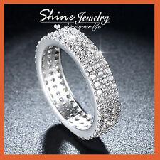18K GOLD FILLED TRINITY RIALTO PAVE SIGNITY DIAMONDS WEDDING ETERNITY BAND RING