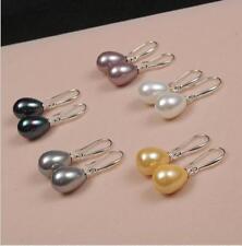 Sea Shell Pearl Silver Hook Earrings 5Colors Pretty Aaa Multicolor 12x16mm South