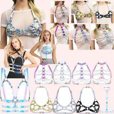 Sexy Women PVC Halter Body Chain Harness Metal Chest Belt Corset Bustier Costume