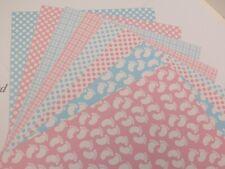 à motif Carte A4 300gsm 1-face pieds de bébé, Vichy, à pois rose ou bleu