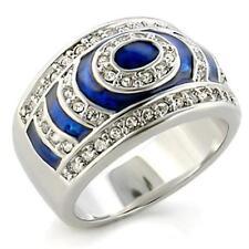 G12 Rhodium Blue Enamel Clear Crystals Fashion Ring Sz7-8-9