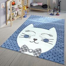 Kinder Teppich Modern Süße Katze Mit Fliege Punkte Design Spielteppich Blau Weiß