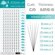 Mixed Length Lotus Premade 6D Fan Lash Eyelash Extension Pre-fans Semi Permanent