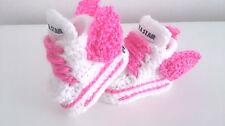 Zapatillas, alas de ángel de bebé de crochet blanco rosa, rosa gris, Cordones, Zapatillas