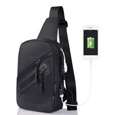 Outdoor Sling Chest Shoulder Bag Motorcycle Bike Backpack with USB Charging Port