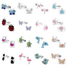 a24745a36 Girls Kids 925 Sterling Silver Crystal Animal Stud Earrings Unicorn Flamingo