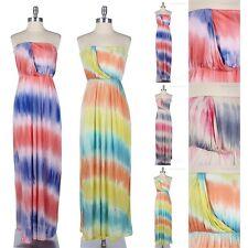 Strapless Tube Maxi Sun Dress Draped Front Detail Elastic Waistband Gorgeous